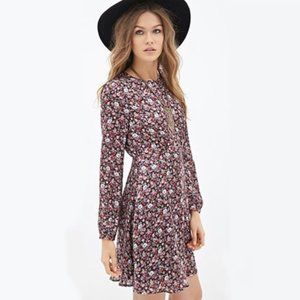 Forever 21 Satin Floral Print Long Sleeve Dress